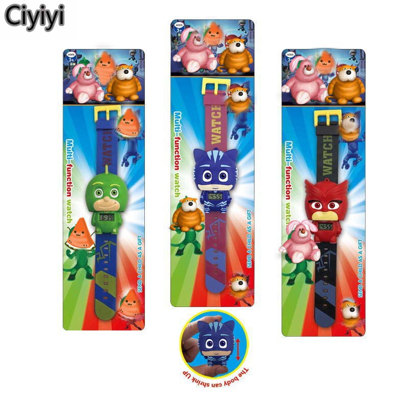 Les Pyjamasques Anime Watch Toy Pj Cartoon Mask Connor Greg Amaya Children Cosplay Party Show Watch Toys Birthday Jouet Gift