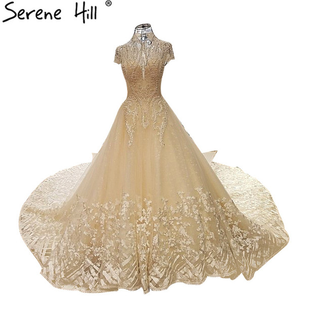 Champagne Color Lace Wedding Dresses Diamond Pearls Short Sleeve Y Bridal Gowns Vestido De Noiva 2018