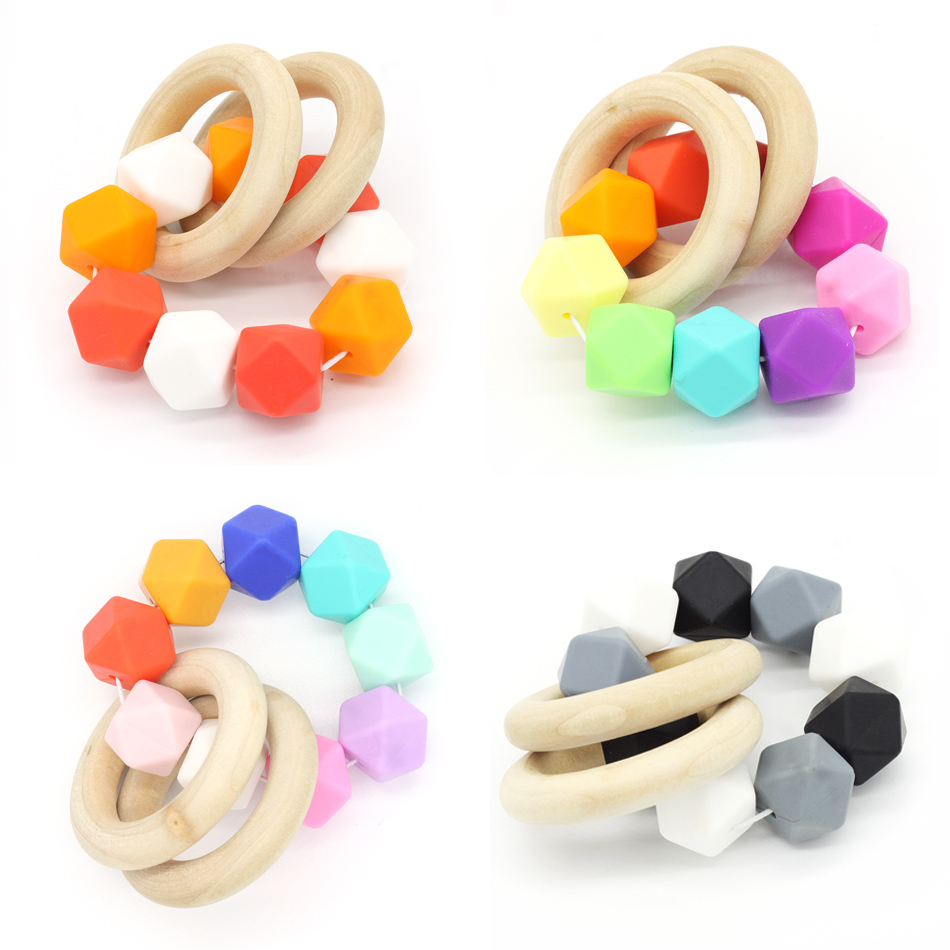 Baby silicone teether ring chewable bracelet rainbow beads silicone toy teething shower gift food grade BPA FREE