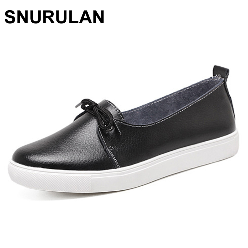 SNURULAN Spring Lovely Solid Women Shoes Woman Causal Loafers Genuine Leather Women Flats Shoes 4 Colors Single Boat Shoes