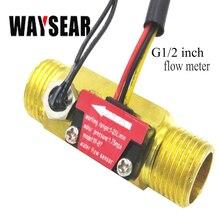G1/2 Salão sensor de fluxo de Água medidor de vazão com detecção de temperatura sensor de fluxômetro medidor de fluxo da turbina de Metal shell de cobre de Cobre