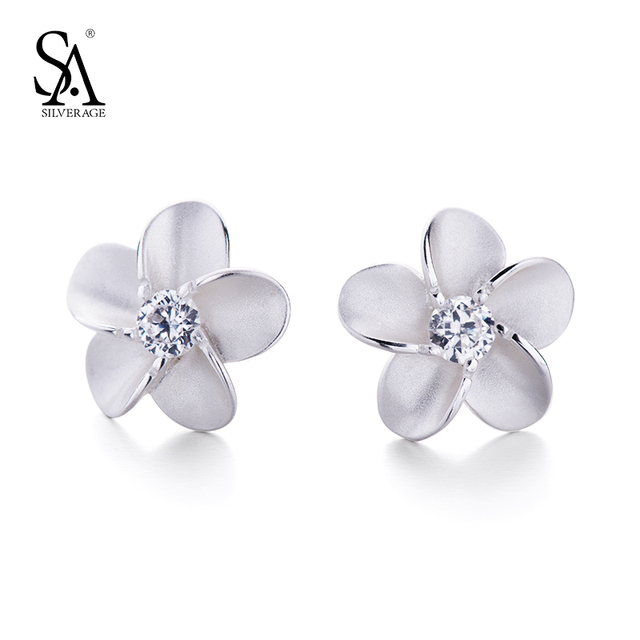 Sa Silverage 925 Sterling Silver Flower Stud Earrings For Women Small Crystal