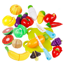 20Pc/set Kids Cutting Fruits Vegetables Pretend Play Kitchen Toys Miniature Safety Food Sets Educational Toy for Children ZW14
