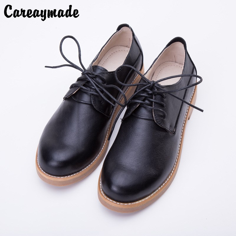 Careaymade The fall of new hot sale Sen female Japanese minimalist leisure shoes Genuine leather shallow