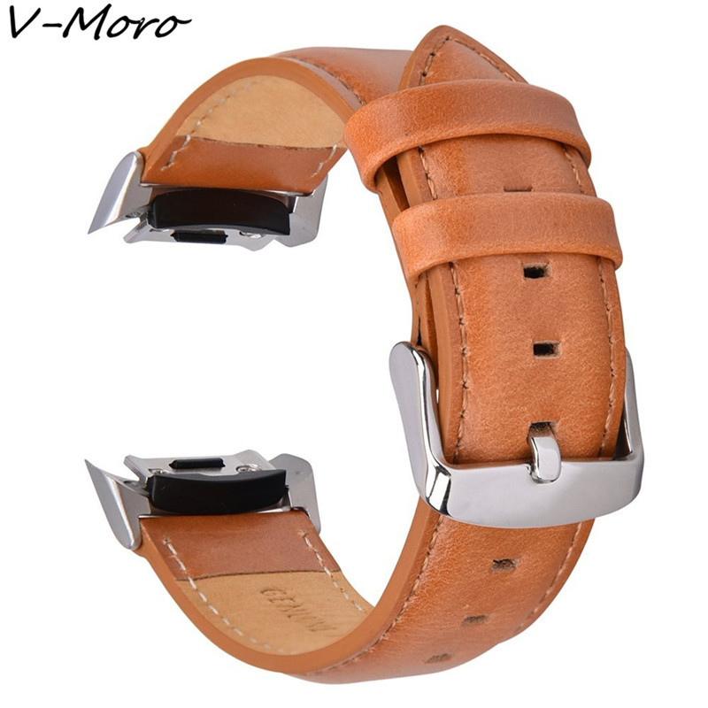 V-MORO Genuine Leather Watch Strap Gear S2 Band Wrist Band Replacement With Stainless Steel For Samsung Gear S2 SM-R720 Straps large small size sport silicone replacement watch wrist strap bands for samsung gear fit 2 r360 watch band conjoined watch band