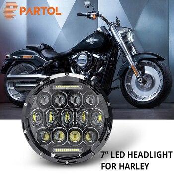 "Partol 7"" 75W Motorcycle LED Headlight H4 High Low Beam DRL Daytime Running Light 6000K 12V For Harley FLD Touring Softail Motor"