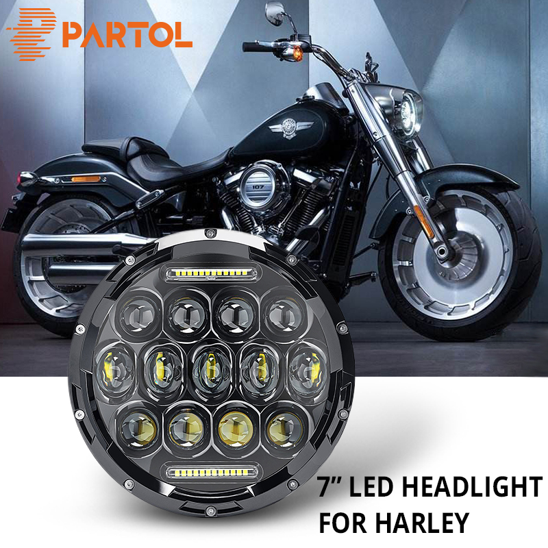 "Partol 7"" 75W Motorcycle LED Headlight H4 High Low Beam DRL Daytime Running Light 6000K 12V For Harley FLD Touring Softail Motor"
