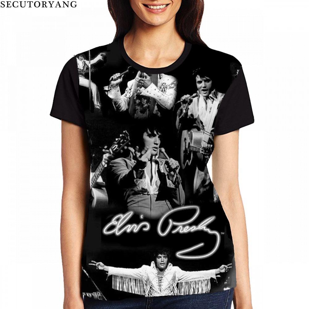 33248ba9c SECUTORYANG Elvis Presley t shirts Tshirt Women T Shirt 2018 Summer T-Shirt  Women Tops Korean Short Sleeve Tee Femme Ropa Mujer