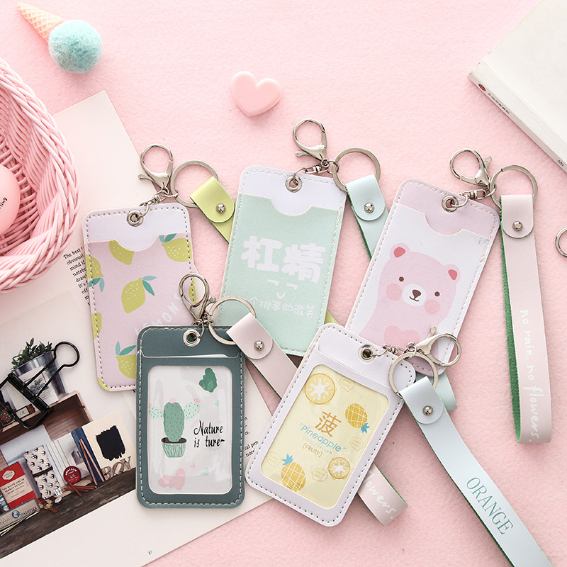 Cute Fruit & Cats Shaped Named Card Holder Identity Badge with Lanyard PU Neck Strap Card Bus ID IC Card Holders With Key Chain high grade pu card holder staff identification card neck strap with lanyard badge neck strap bus id holders