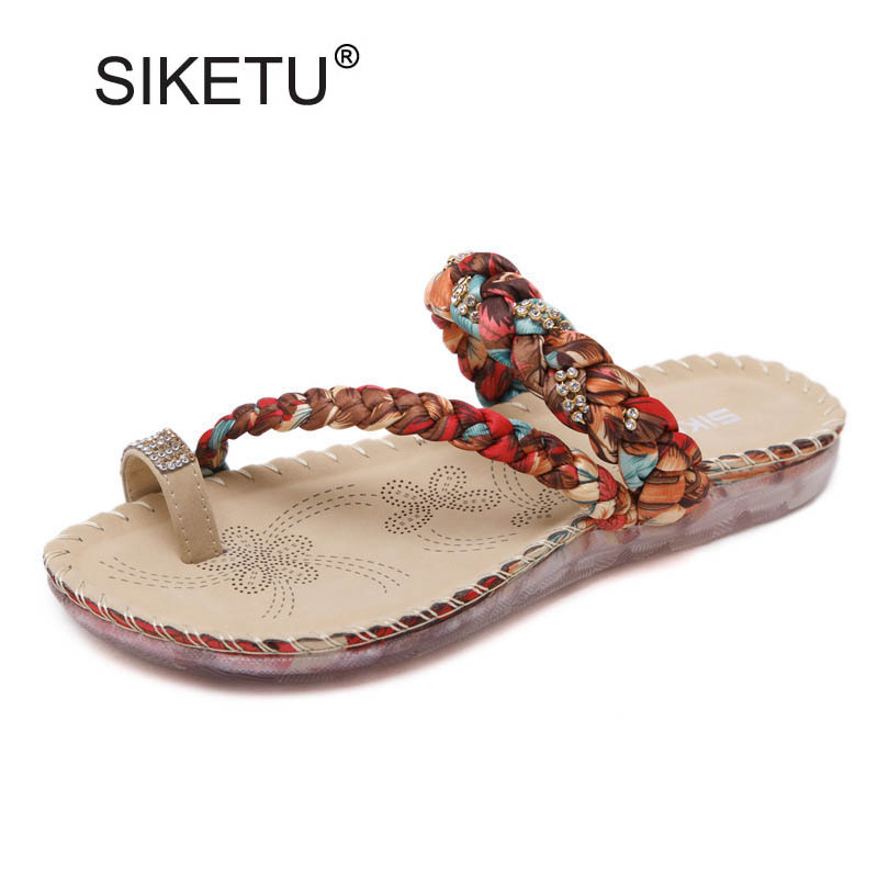 Women Slippers Rhinestone Print Flat with Flip Flops Sandals Summer Style Slides Shoes For Woman Slip On Casual Beach Sandal E91 купить