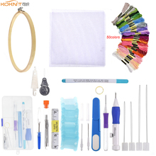 KOKNIT Magic Embroidery Stitching Punch Needles Pen Set 50pcs Mix Colors Threads Scissors Sewing Kit with Box