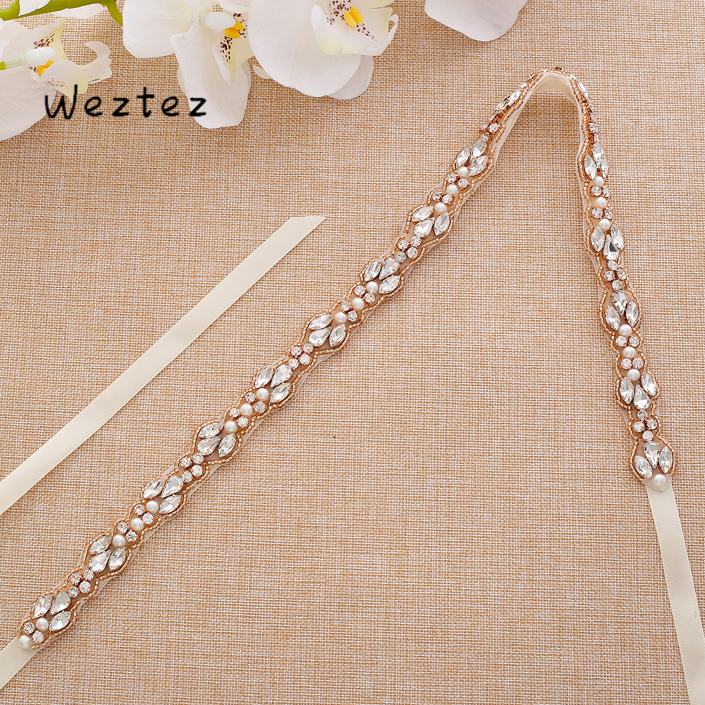Rose Gold Crystal Wedding Sash Pearls Wedding Belt Rhinestones Bridal Belt For Bridal Bridesmaid Gown SD132RG