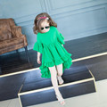 Girl Dress 2017 summer new children's clothing girls round neck short-sleeved dovetail flounced  Vestidos Hot sale