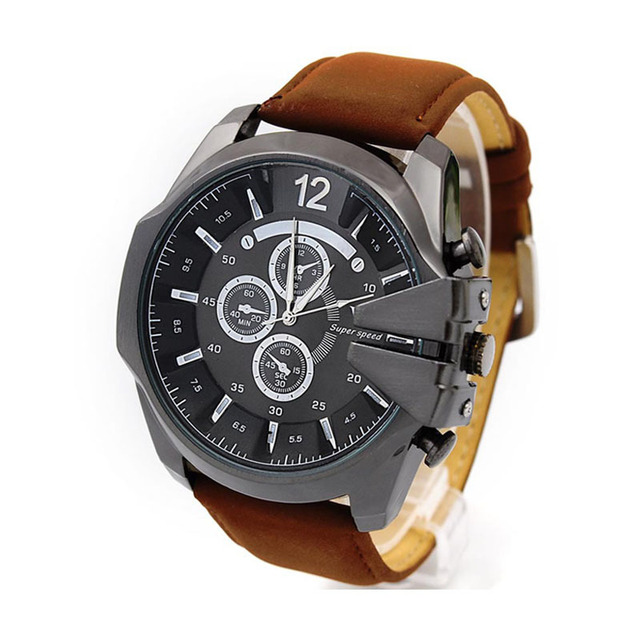 35db0167052 V6 Super Speed Chunky Leather Strap Watches Rose Gold Color Casual Male  Watches Quartz Military Clock relogio masculino