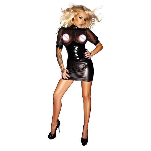 Chiffon Club Short Sleeve Mini Dress Wetlook Kleid Vinyl Leather Clubwear