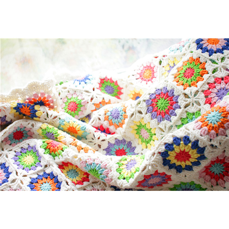 Manta hecho a mano crochet flor rural trozo de hilo manta toalla ...