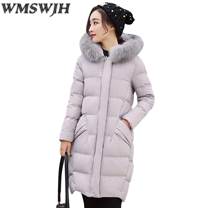 2017 New Winter Jacket Women Slim Fur Collar Hooded Coat Parkas Outwear Fashion Thick Warm  High Grade Women Winter Coat  WS306 2017 new fashion winter women long jacket parkas hooded fur collar coat slim warm cotton padded thick parkas lady outwear qjw104
