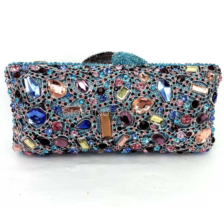 Blue rhinestone handbag evening bag prom clutch fashion show shoulder crystal bag Diamond Rhinestone Clutches Party Banquet  Q14