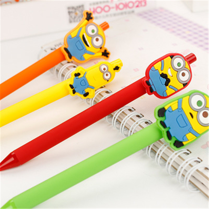 Despicable Me Cute Gel Pen Kawaii Gel Pen 0.5mm Black ink Candy color pens for Kid Gift escritorio Papelaria School Supplies 0 38mm cute kawaii cartoon plastic gel pen lovely candy color sunny doll pens for kids school supplies free shipping 2154