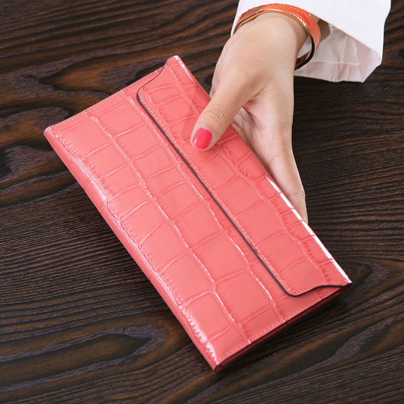 Free shipping new fashion women wallet Genuine Real Leather brand Clutch wallets women Long Designed Crocodile Pattern purse genuine leather women wallets crocodile 3d head fashion clutch purse wallet alligator pattern long wallet women carteira
