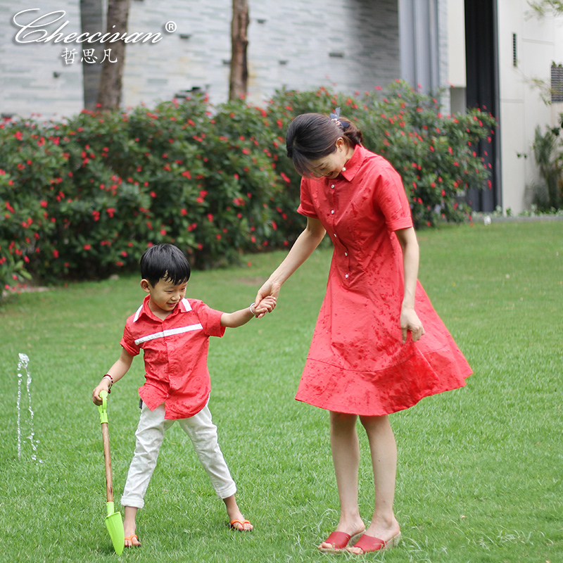 Checcivan Family Show Dress and Shirt 2017 Summer Fashion Mother &Child Clothes Boys Shirt One-piece Dress for Mother &Daughter family fashion summer tops 2015 clothers short sleeve t shirt stripe navy style shirt clothes for mother dad and children