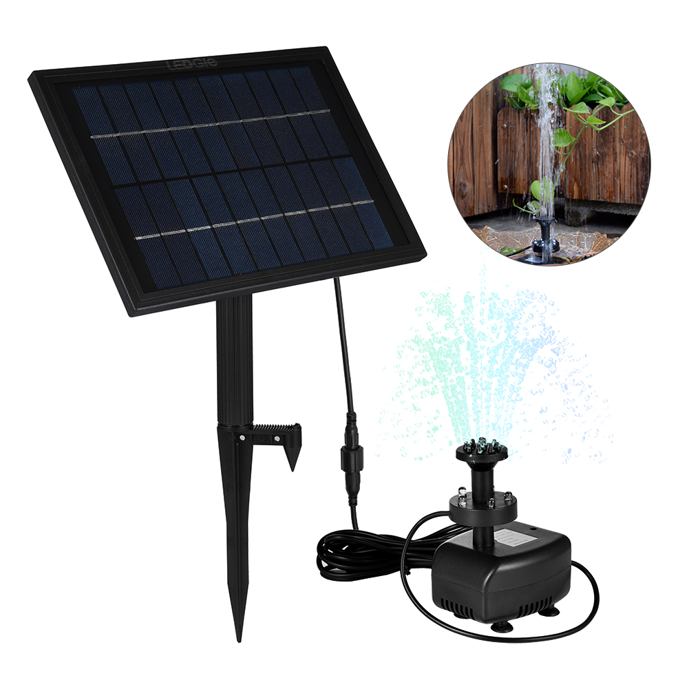LEDGLE 5W Solar Water Fountain Pump Decorative Garden Water Pump with Colorful Light 8 Nozzles Suitable for Garden and Patio