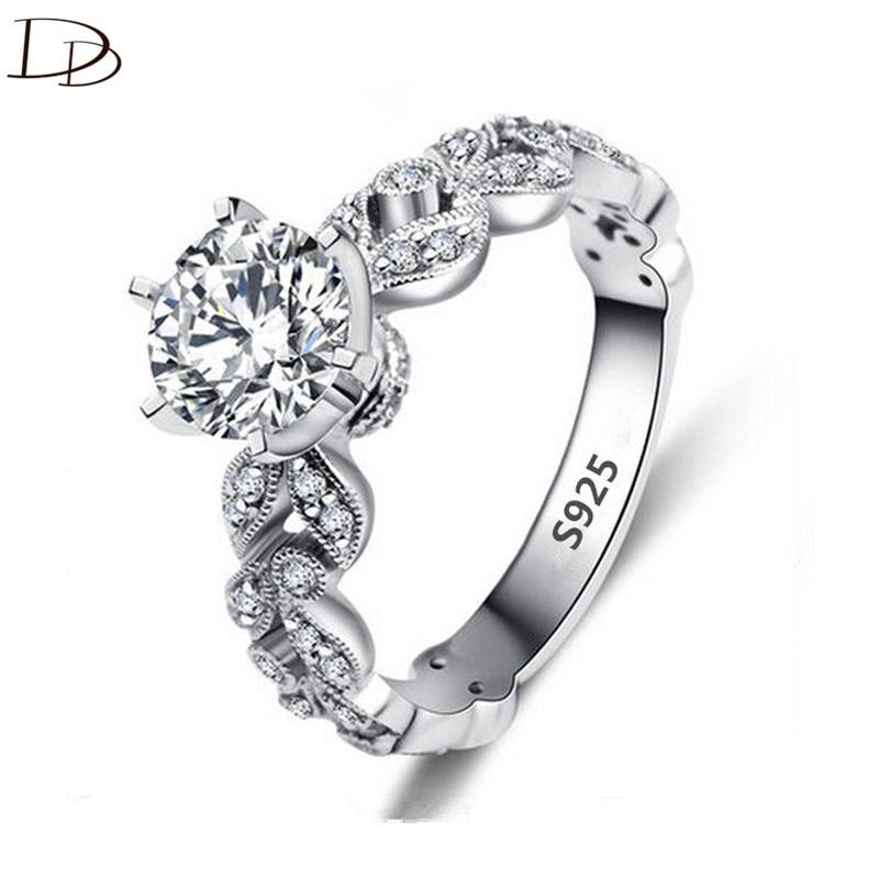 1.5 карат AAA циркон украшения обручальные кольца для женщин старинные 925 серебро Анель Кристалл Bague листья dd097
