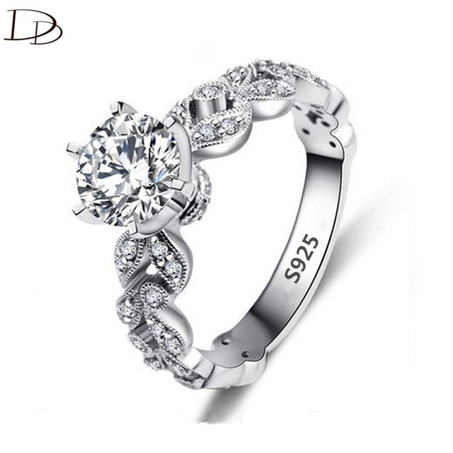 1.5 Carat AAA Zircon trang sức cưới Nhẫn đính hôn cho nữ Vintage nữ bạc 925 anel pha lê bague lá DD097