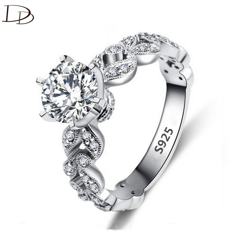 1.5 carat AAA zirkoon jewelry wedding verlovingsringen voor dames vintage 925 sterling zilver anel crystal bague leaves DD097