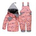 Девочка зимой вниз комплектов одежды зима Dot печать с капюшоном новорожденного Bebes картер снег верхней одежды пальто + спецодежда + шарф