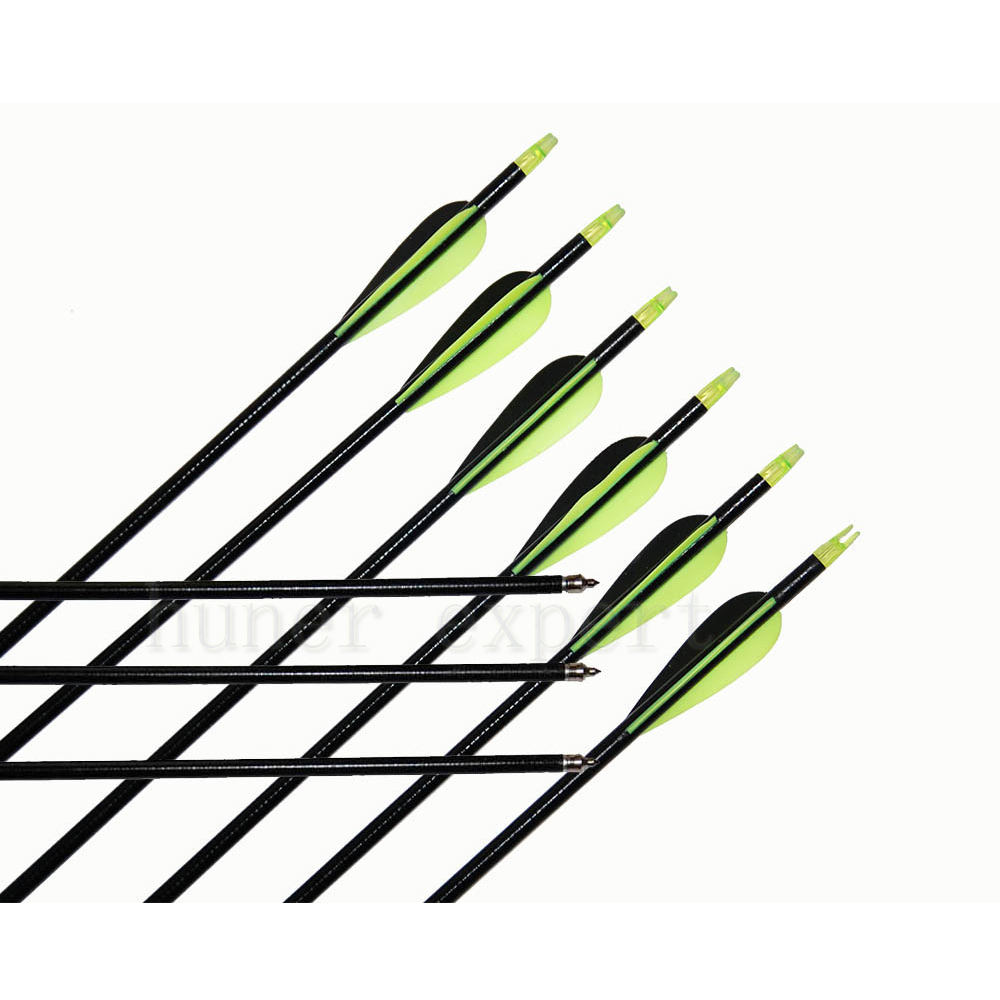 ФОТО 15pcs archery hunting fiberglass arrow+changeable Point+2 green 1 black feather for Recurve Bow or Traditional Bow