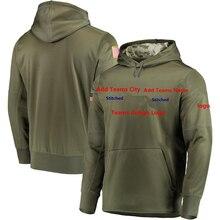 На заказ оливковый Салют для обслуживания Sideline Therma толстовки для выступлений пуловер карман флаг США логотип мужская Толстовка