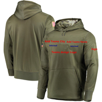Custom Stock Olive Salute to Service Sideline Therma Performance Pullover Front pouch pocket USA Flag Logo Men's Sweatshirt
