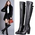 C2043 moda coxa botas altas das mulheres sapatos de salto alto mulher sapato de bico fino de couro Genuíno sobre o joelho botas de inverno preto botas