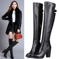 C2043 women fashion thigh high boots high heels shoes woman Pointed toe Genuine leather over the knee boots black winter boots