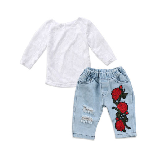 Flower Newborn Kids Baby Girls Clothes Sets Lace Tops T-shirt Long Sleeve Denim Pants Jeans Flower Outfits Clothing Girl 0 5t kids t shirt girls clothes cartoon t shirt long sleeve tops