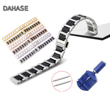 Dual Color 316 Stainless Steel Ceramic Watch band Butterfly Buckle Replacement Wrist watch Strap Bracelet 14mm 16 18mm 20mm 22mm