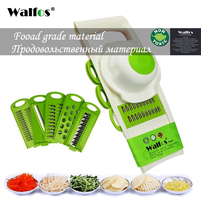 WALFOS 7Pcs / szett Multi Mandoline növényi szeletelő Rozsdamentes acél vágó zöldség Rostélyos konyha Gadget Sárgarépa burgonyavágó