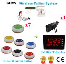 Bezprzewodowy dzwonek recepcyjny aby System połączenia bezprzewodowego kelner otrzymać telefon zwrotny od próbki zamówienie w tym stołu z Bell (1 wyświetlacz + 7 otrzymać telefon zwrotny od przycisk) tanie tanio Ycall K-2000CT+K-A2-Wgreen Wireless Call Bell Order System 433 92mhz 60*60*35mm one year 200-300M in open area 195*135*30mm