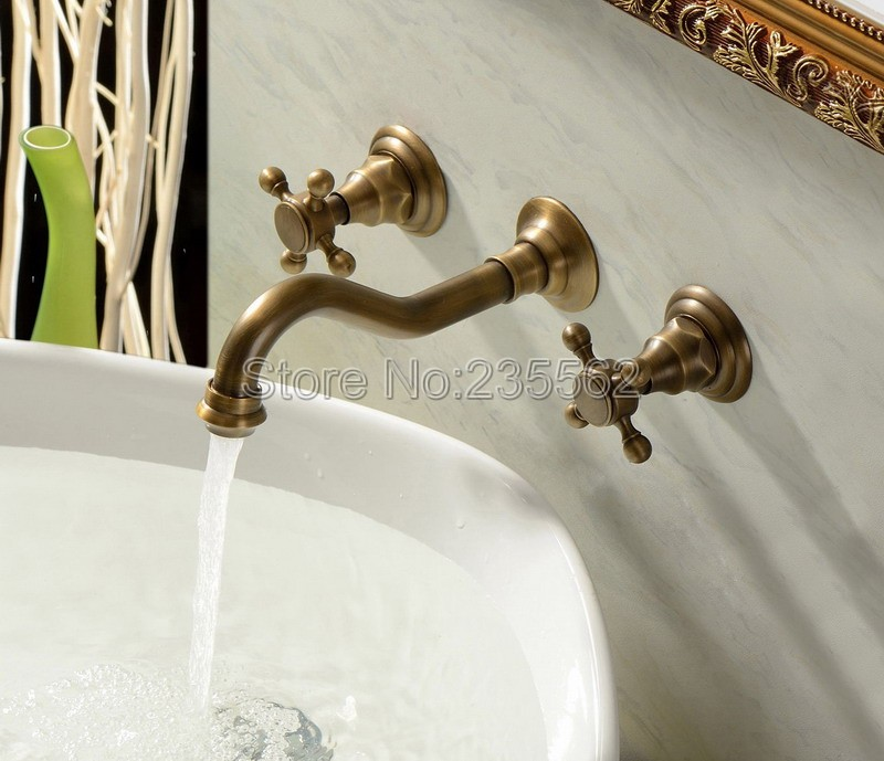 3pcs Antique Brass Dual Cross Handle Bathroom Faucet Wash Basin and Sink Faucets Bath Tub Mixer Tap Wall Mounted ltf050 antique brass three holes bathroom sink basin faucet mixer tap dual handle