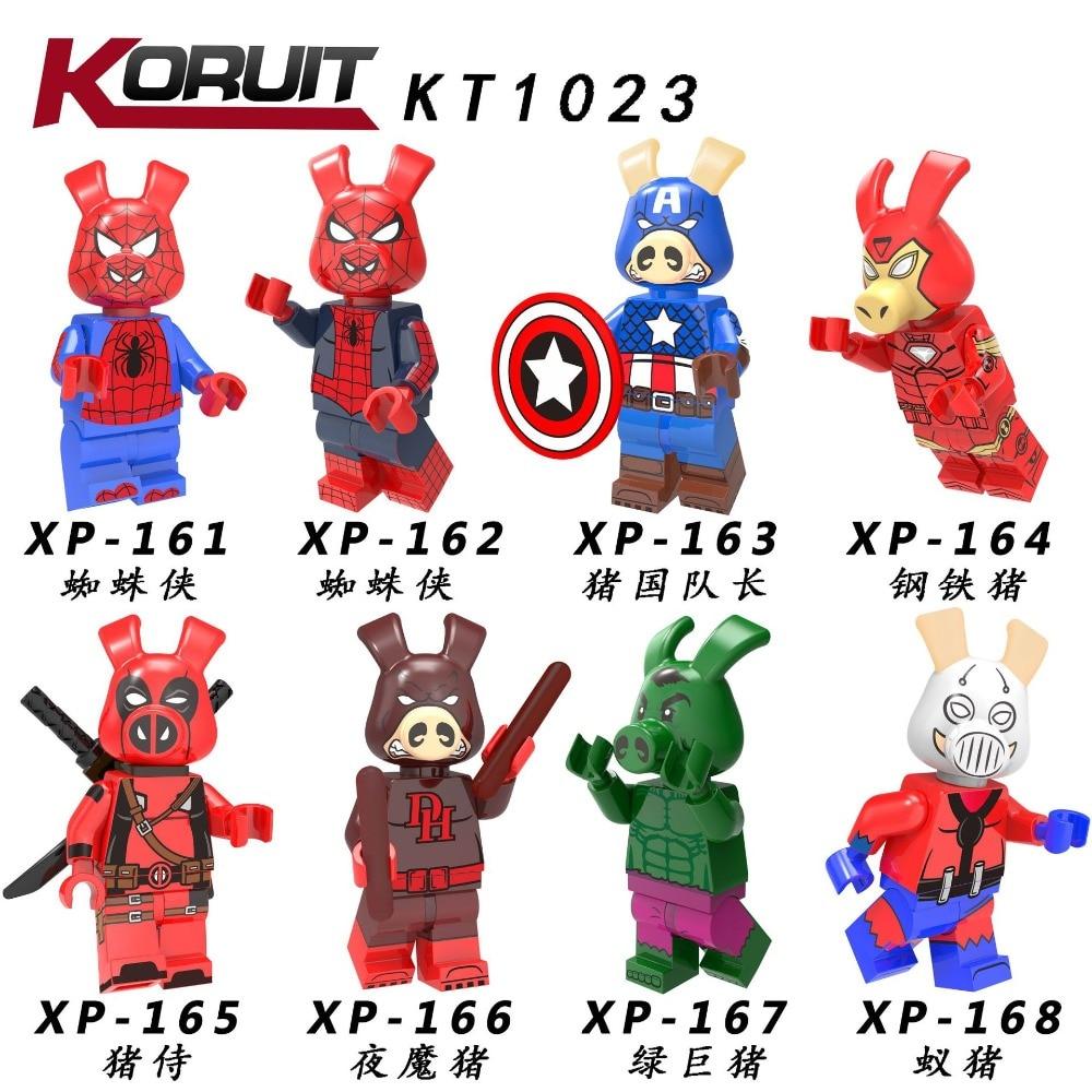 80 sztuk klocki Marvel śmieszne PiggyInto Spider werset Spider szynka SpiderPorker Ant man północy człowiek ingly KT1023 w Klocki od Zabawki i hobby na  Grupa 1