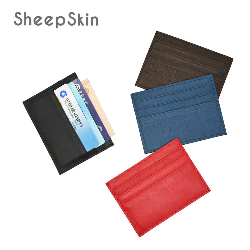 100% Sheepskin Genuine Leather Slim Soft Card Wallet Thin mini credit card holders Men Small Case Custom Name LOGO