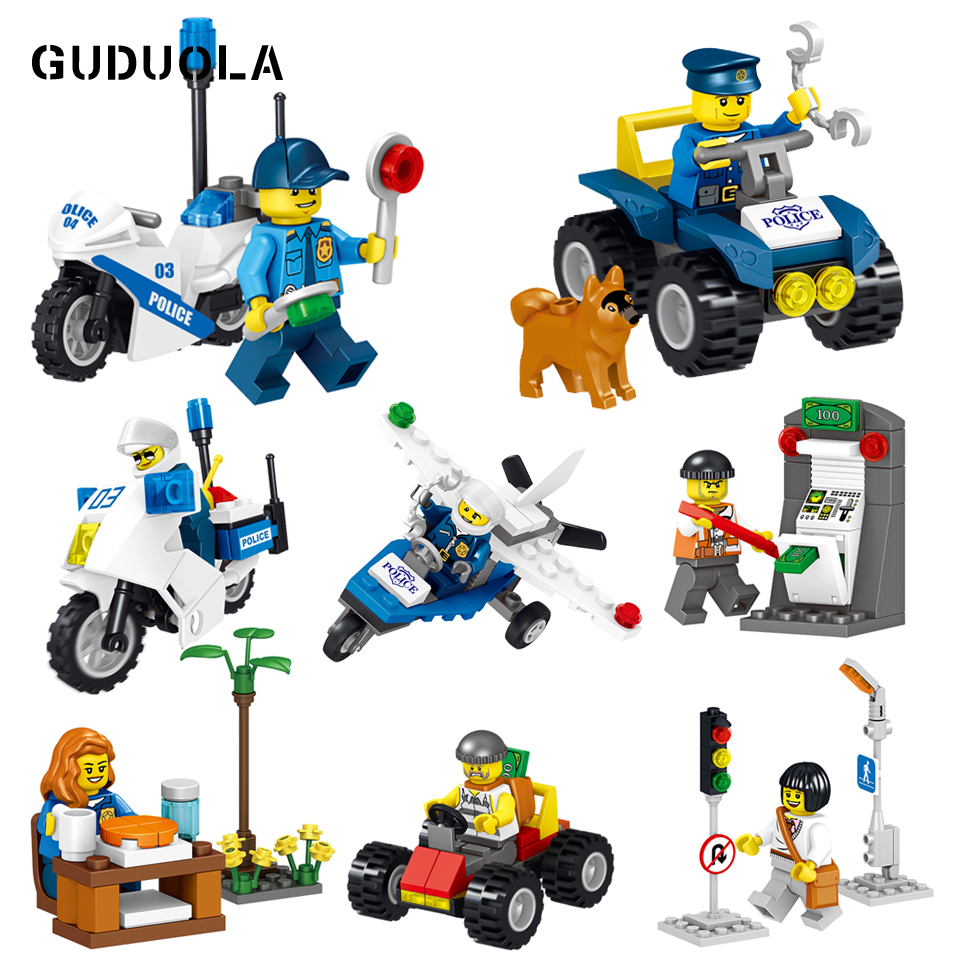 Guduola City police Building Blocks Figure toy set Compatible Legoing city figure brick toys perfect birthday gift 8pcs/set