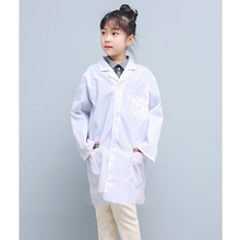 Boys Girls White Lab Coat Children Cotton Long Sleeve Pockets Lab Medical Uniform Doctor Nurse Clothing Breathable Summer Unisex