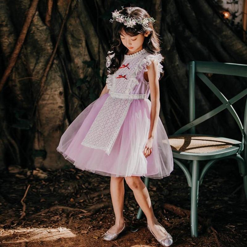 DFXD/крупные девушки летнее платье высокого качества для детей, из хлопка, без рукавов, кружевное платье принцессы для девочек детское платье ...