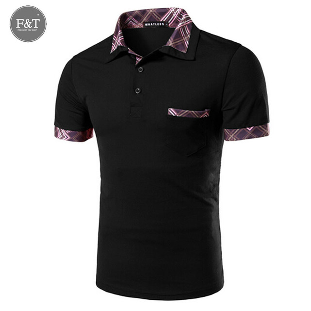 [Asian size] Brand Men's Plaid splicing Polo Shirts Summer Polos  Short Sleeve Solid Shirt Sportswear Turn Down Collar tee