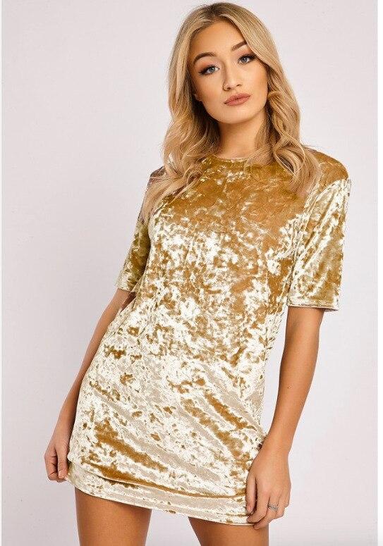 Fashion Velvet dress women short sleeve