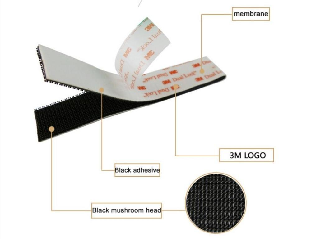 4 Pcs 3MSJ3550 Wave Shape Width 25.4mm Black VHB Mushroom Adhesive Reclosable Fastener Tape