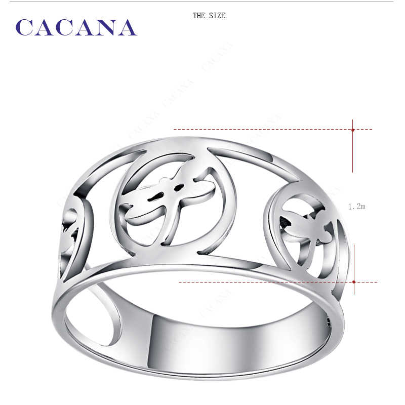 CACANA  Stainless Steel Rings For Women With Three Dragonfly Fashion Jewelry Wholesale NO.R150