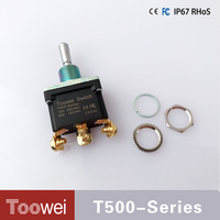 Waterproof IP67 T500 series screw terminal heavy duty toggle switch (ON)-OFF-(ON) 3 pin 3 position double reset toggle switch